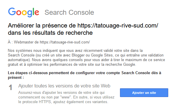 Mail google search console